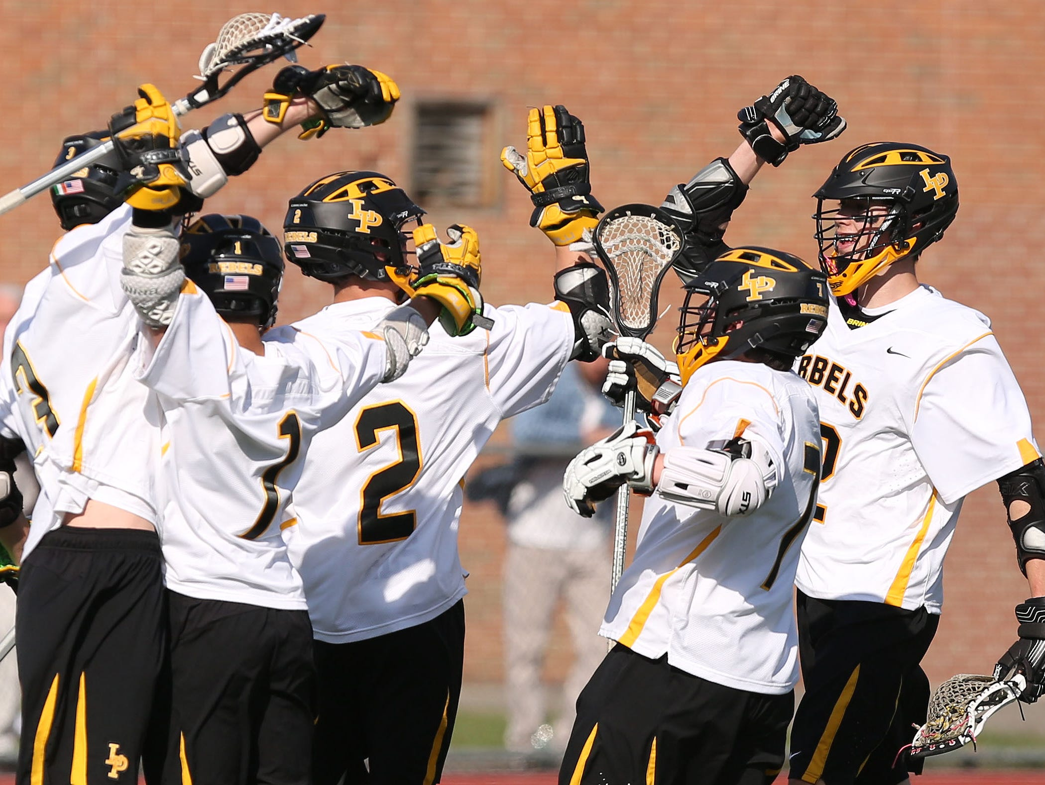 Lakeland/Panas players celebrate a first half goal against Mahopac.
