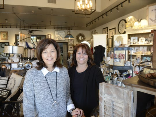 Deb Marlow, left, and Lisa Prunty, owners of Time for Decor in Urban Edge, Suamico, provide new, found and repurposed furniture and accessories. Oct. 3, 2016.