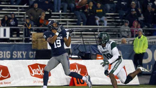Nevada wide receiver Wyatt Demps catches a  touchdown pass during a win over Hawaii.