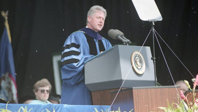 President Bill Clinton speaks at MSU commencement ceremonies May 5, 1995.