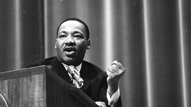 Dr. Martin Luther King Jr. spoke to the Michigan State University student body on civil rights, social justice and voter registration efforts in Selma, Ala. on Feb. 11, 1965.