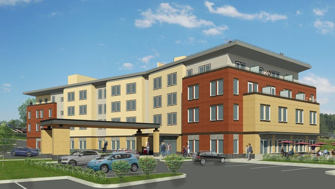 A rendering showing a boutique hotel that will open in May 2019 in downtown Independence.