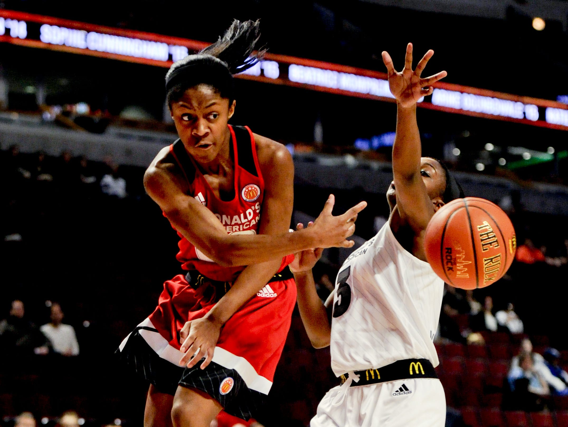 Blackman's Crystal Dangerfield (left) competes in the 2016 McDonald's All-American Game.