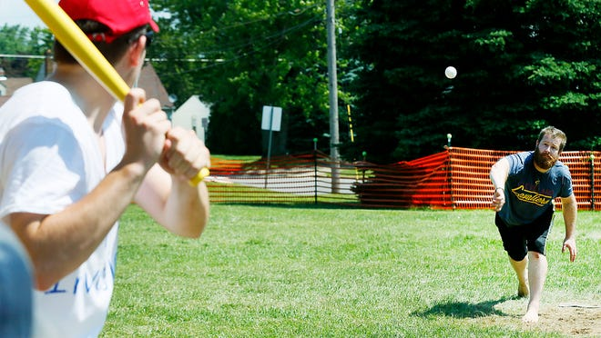 Ben Lanzer pitches for his team, A Case of the Wiffles, during the adult division tournament at Wifflefest 20 on July 4, 2019 at Southview Grace Brethren Church. Wifflefest XXI is scheduled for July 3 and 4.