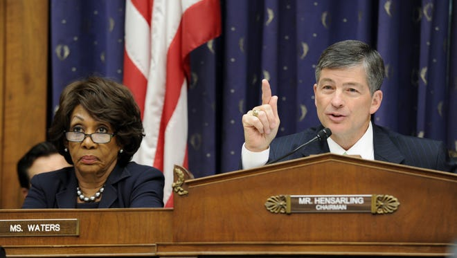 House Financial Services Committee Chairman Rep. Jeb Hensarling, R-Texas., questions Treasury Secretary Jacob Lew on Capitol Hill in Washington, Tuesday, June 24, 2014, during the committee's hearing entitled ?The Annual Report of the Financial Stability Oversight Council.? At left is the committee's ranking member Rep. Maxine Waters, D-Calif. (AP Photo/Susan Walsh)