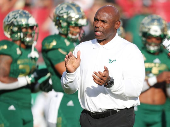 Nov 23, 2018; Tampa, FL, USA; South Florida Bulls head coach Charlie Strong prior to the game against the UCF Knights at Raymond James Stadium. Mandatory Credit: Kim Klement-USA TODAY Sports