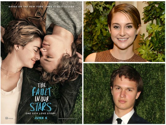 "Actors Shailene Woodley, top right, and Ansel Elgort, bottom right, are seen on the first promotional poster for the film ""The Fault in Our Stars."""