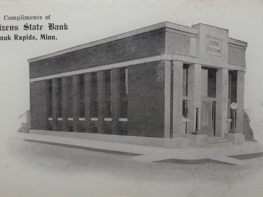 An early photograph of Citizens State Bank building in Sauk Rapids. The building was most recently the home of Turch Jewelry.