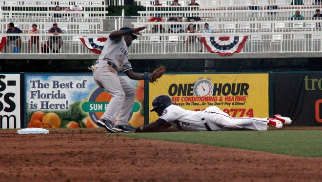 Nick Gordon of the Fort Myers Miracle gets tagged out  by New York Yankees prospect Jorge Mateo in the 55th Florida State League All-Star Game at Hammond Stadium in Fort Myers on Saturday, June 18, 2016.