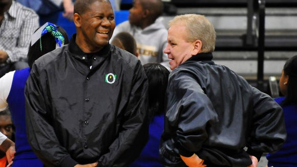 "Darrell ""Doc"" Rodgers (left) and another official laugh"