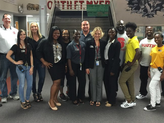 About 125 seniors at South Fort Myers High School worked as teachers, office staff, security guards and principals Friday as part of Senior Takeover Day.