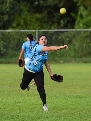 In this file photo from the inaugural APL Guam Women's Fastpitch Softball League, Jaz Pecina warms up before a game against the Nationals in July 2018. After a six-team league in the first year, nine teams are entered, and eight of them are gunning for Southern, which went undefeated through the regular season and playoffs for the league's first-ever title.