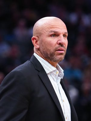 Milwaukee Bucks head coach Jason Kidd looks on from the sideline against the Sacramento Kings during the first quarter at Golden 1 Center.