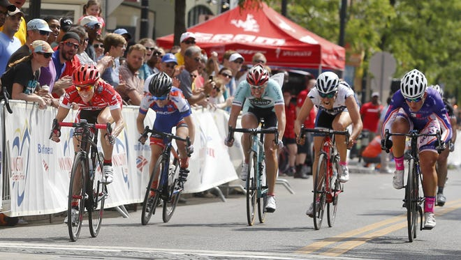 Tina Pic of Hailey, Idaho (left) edges the lead pack at the finish to claim the women's pro race during the Wilmington Grand Prix in 2015.