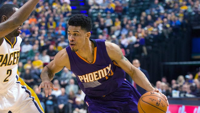 Phoenix Sun's Gerald Green (14) drives the ball to the basket during the second half of an NBA basketball game, Saturday, Nov. 22, 2014, in Indianapolis. Green had a game-high 23 points. The Suns defeated the Pacers 106-83.