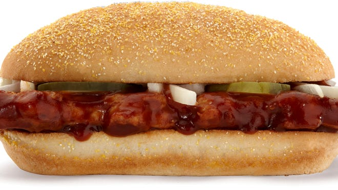 This product image of McDonald's shows their McRib sandwich. McDonald's Corp. said Wednesday, Nov. 20, 2013, that the McRib wonâ??t be available nationally in 2014. The fast-food chain says itâ??s leaving it up to local franchises to decide whether to offer the pork sandwich, which comes with pickles, onions and barbecue sauce. Thatâ??s a change from the past three years, when McDonaldâ??s had put the McRib on the national menu as a way to boost sales in the second half of the year. (AP Photo/McDonald's) NO SALES