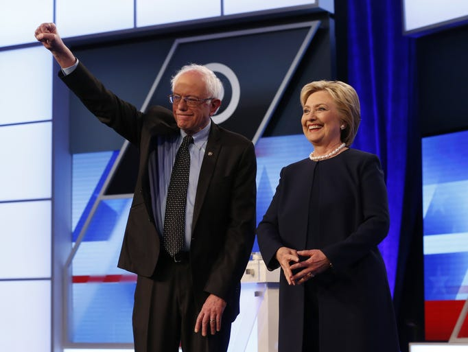 Candidates Hillary Clinton and Sen. Bernie Sanders,