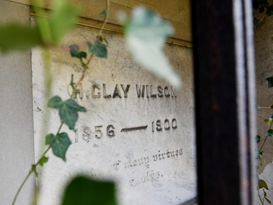"""A mausoleum at Riverside Cemetery reads """"H. Clay Wilson,"""