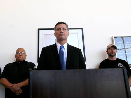 Terry Wade, special agent in charge of the FBI's Albuquerque field office, speaks during a press conference on Tuesday at the Bureau of Indian Affairs office in Shiprock about the death of 11-year-old Ashlynne Mike.