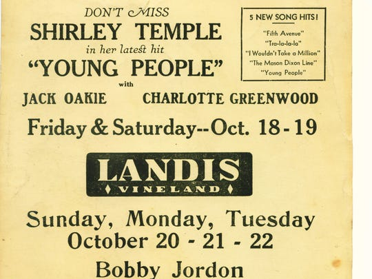 Here's an ad for the Landis Theatre showing a upcoming