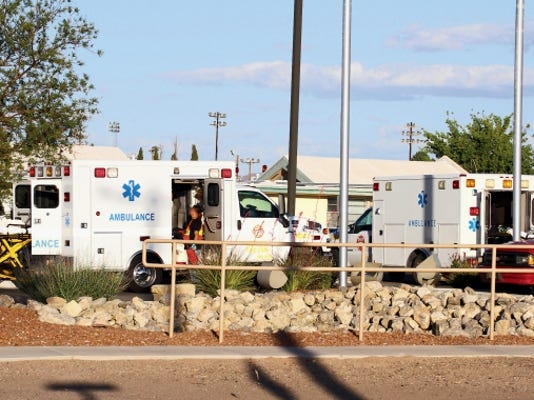 Bill Armendariz - Headlight Photo   Ambulances rushed injured passengers to the Mimbres Memorial Hospital ER following a late afternoon head-on collision on US Highway 180 (Silver City Highway) Tuesday.