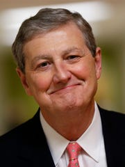 FILE - In this Nov. 2, 2016 file photo, Louisiana Republican Senate candidate, Louisiana Treasurer John Neely Kennedy, waits for the start of a debate for Louisiana candidates for the U.S. Senate, at Dillard University in New Orleans. (AP Photo/Gerald Herbert, File)