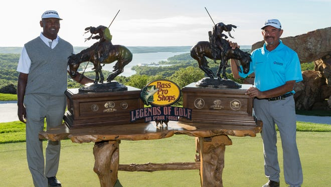 Vijay Singh and Carlos Franco with their Bass Pro Shops Legends of Golf trophies on Sunday, April 23, 2017.
