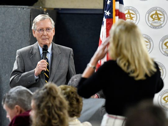 Senate Majority Leader Mitch McConnell R-Ky., listens