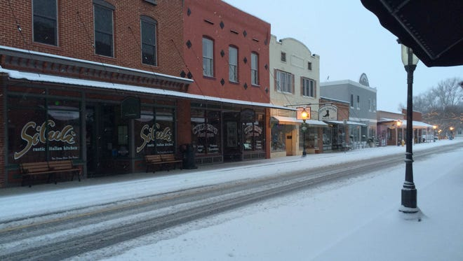 Downtown Berlin was blanketed with snow for Presidents Day Feb. 15, 2016.