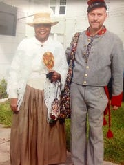 "Angela ""Cookie"" McClain and Robert Gates in Civil War period costume"