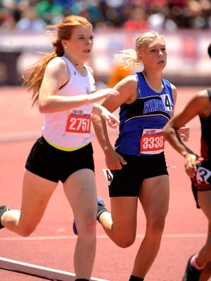 Windthorst's Brooke Schreiber (3338) runs the turn in the Class 2A girls 800m during the UIL State Track and Field Championships on Saturday, May 13, 2017, at Mike A. Myers Stadium in Austin. Schreiber took second in the race with a time of 2:18.22.