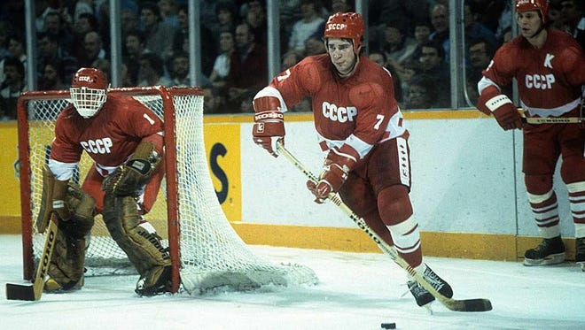 """""""The Miracle on Ice"""" loss to the U.S. at the 1980 Olympics devastated the seemingly invincible Soviet team, including  Vladimir Myshkin (left) and  Alexei Kasatonov."""