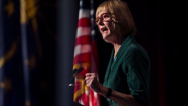 Lt. Gov. Suzanne Crouch speaks during a luncheon at the Old National Events Plaza on Friday, March 16, 2018.