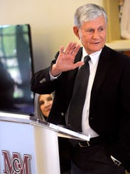 Bynum Miers gestures during his remarks Thursday June