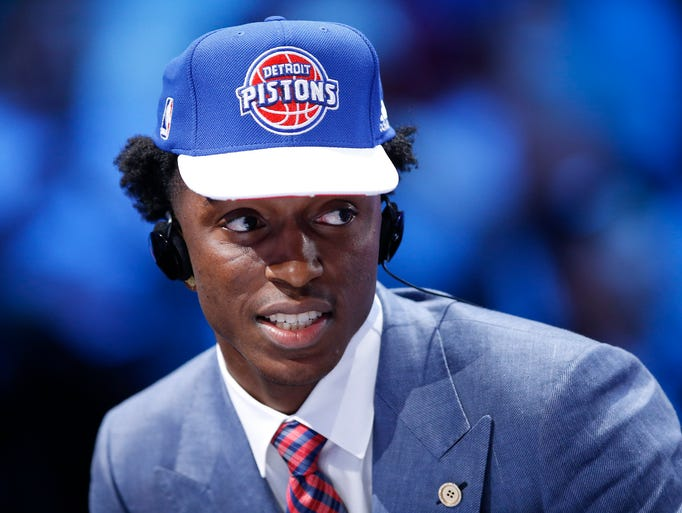 Stanley Johnson answers questions during an interview