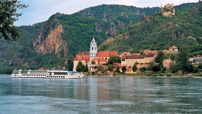 Grand Circle Cruise Line's Adagio sailing near Durnstein, Austria.
