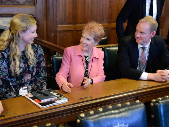 Sister Kathy Christofferson, center, chats with attendees at the All-Party Parliamentary Group event held in the United Kingdom Parliament on May 1.