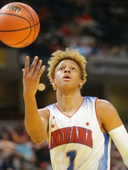 Indiana All-Star player Romeo Langford (1) reacts to
