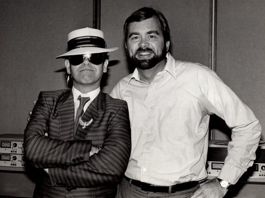 Brian Beirne (right), a 1964 graduate of South Salem High School, poses for a photograph with a young Elton John. Beirne, a former radio disc jockey who was in town July 26 for his 50th reunion, is a celebrity in his own right and has a star on the Hollywood Walk of Fame.