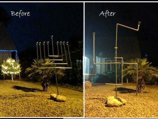 Vandals turn Chandler menorah into Swastika