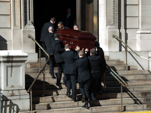 Pallbearers carry the casket of Philip Seymour Hoffman, who was found dead Feb. 2 of an apparent heroin overdose, into St. Ignatius Of Loyola church during the his funeral service on Feb. 7, 2014, in New York City. His family and friends -- many celebrities with whom he had worked -- were in attendance, as well as his wake, to mourn the actor.