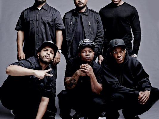 """Clockwise from top left, producer Ice Cube, director/producer F. Gary Gray, producer Dr. Dre, Corey Hawkins as Dr. Dre, Jason Mitchell as Eazy-E and O'Shea Jackson Jr. as Ice Cube on the set of the film, """"Straight Outta Compton."""""""