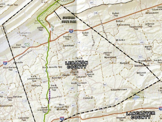 Proposed route (green line) of Williams Transcontinental Pipe Line Co's Atlantic Sunrise Expansion Project. Submitted