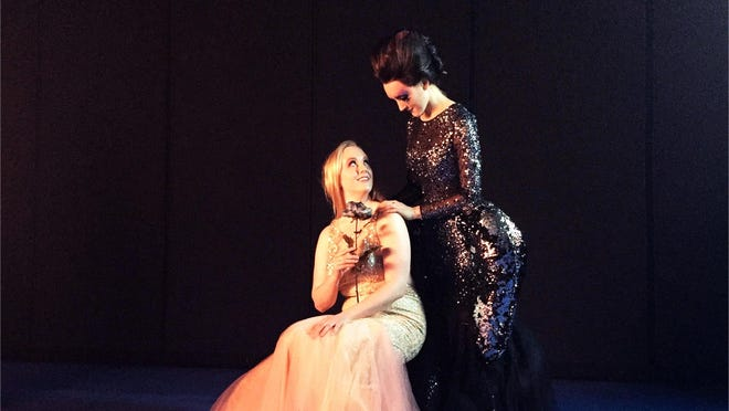 """Caroline Dunigan, left, soprano, """"Pamina,"""" and Zoe Johnson, soprano, """"Queen of the Night,"""" perform in """"The Magic Flute Redux,"""" a Bard College Conservatory Graduate Vocal Arts Program, this weekend."""