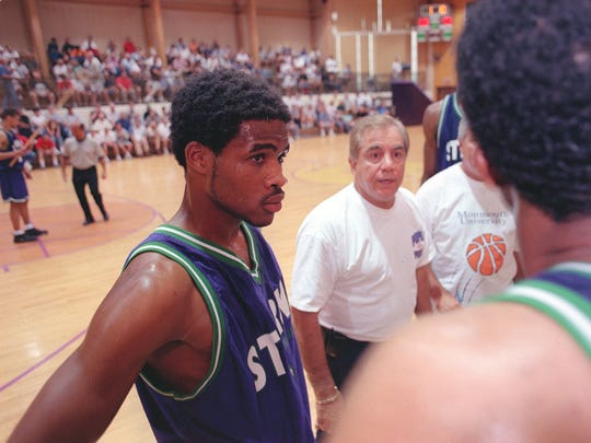 Long Branch's Phillip Wheeler during a timeout in a Jersey Shore Basketball League game in 2000.