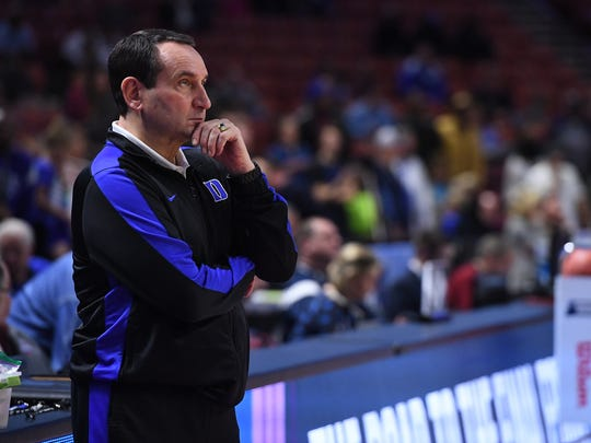 Duke head coach Mike Krzyzewski during practice for the NCAA Tournament at Bon Secours Wellness Arena in downtown Greenville on Thursday, March 16, 2017.