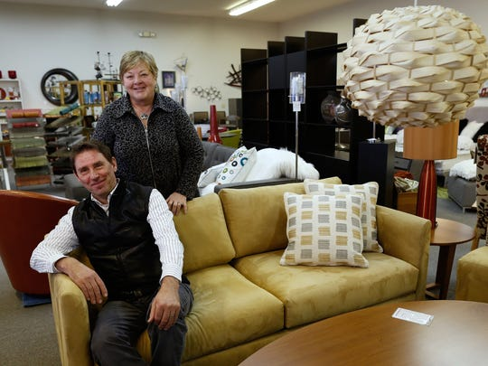 Lars and Mary Rydell, co-owners of Scanhome Furnishings, in their new location on the 1000 block of Waube Lane in Ashwaubenon.