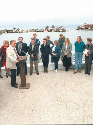 Dusty Durrill (at podium) officially announced the beginning of construction of the Mirador de la Flor on Dec. 17, 1996.