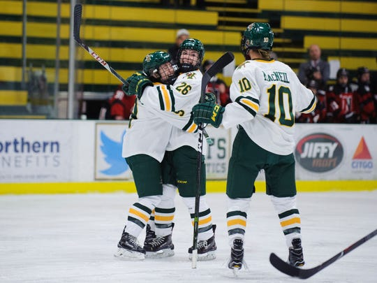 Vermont celebrates a goal during the women's hockey game between the Northeastern Huskies and the Vermont Catamounts at Gutterson Fieldhouse on Friday night January 26, 2018 in Burlington.