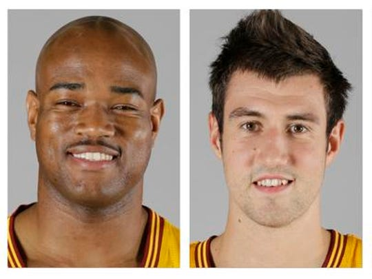 From left are 2013 file photos showing Cleveland Cavaliers basketball players Jarrett Jack, Sergey Karasev and Tyler Zeller. A person familiar with the deals says the Cavaliers have agreed to trade Jack,  Karasev and Zeller, moves that can help their pursuit of LeBron James by clearing salary cap space.